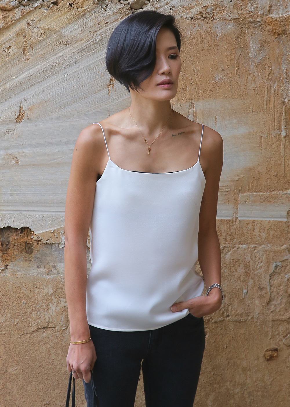 Simply Camisole Snow White/Slate Blue