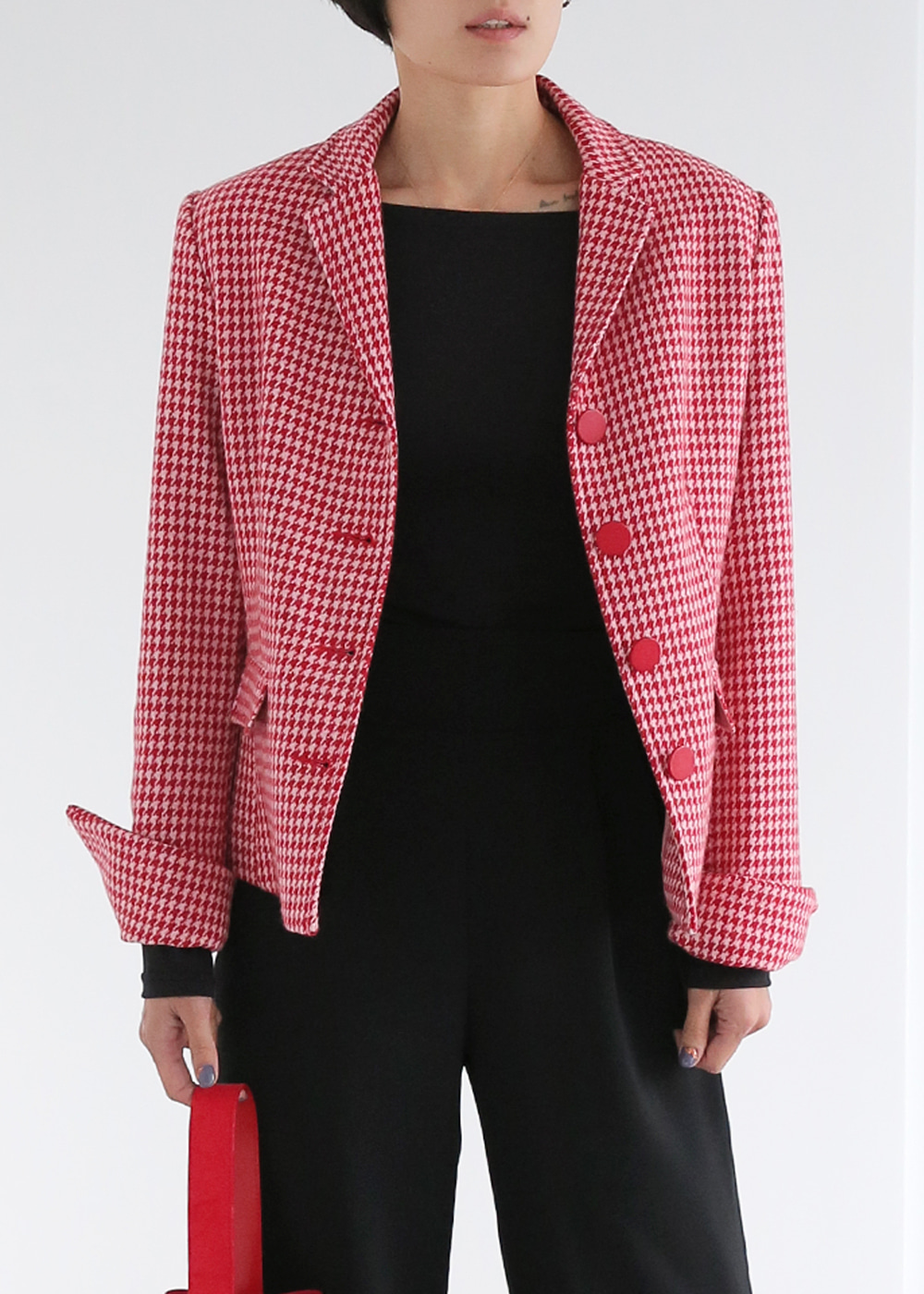 Classic Wool Jacket Red Houndstooth