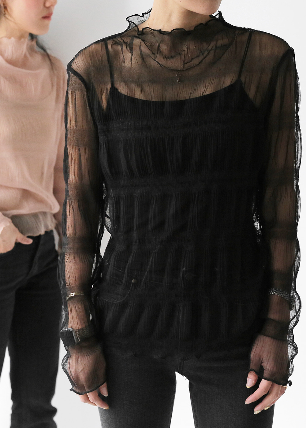 Sheer Ruched Top