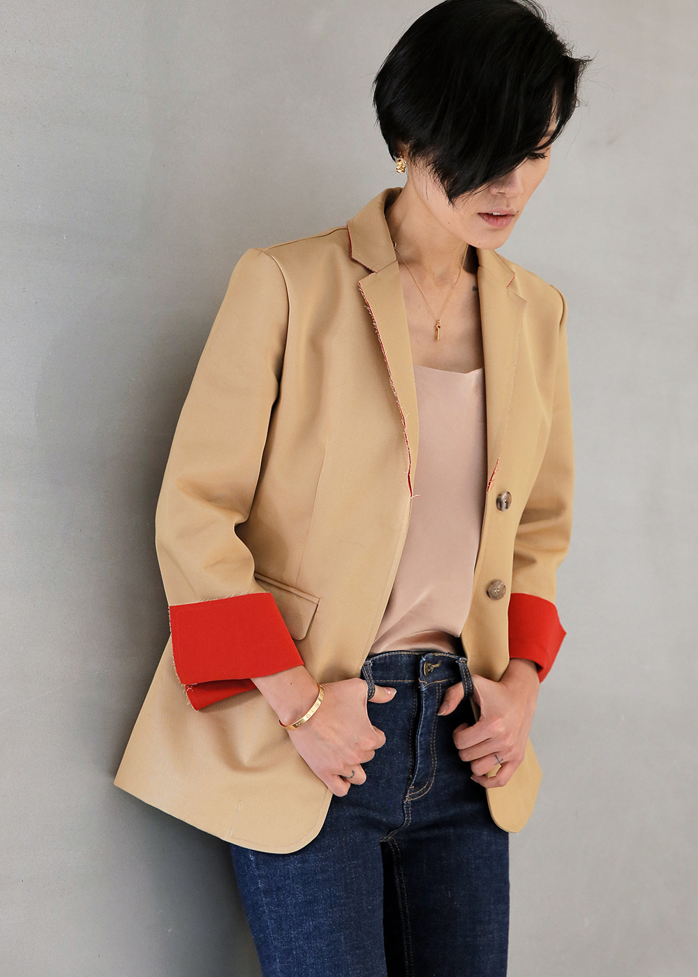 Slit Color Contrast Jacket