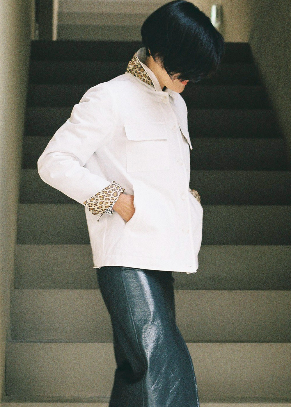 Leopard Pointed Jumper Jacket Snow White