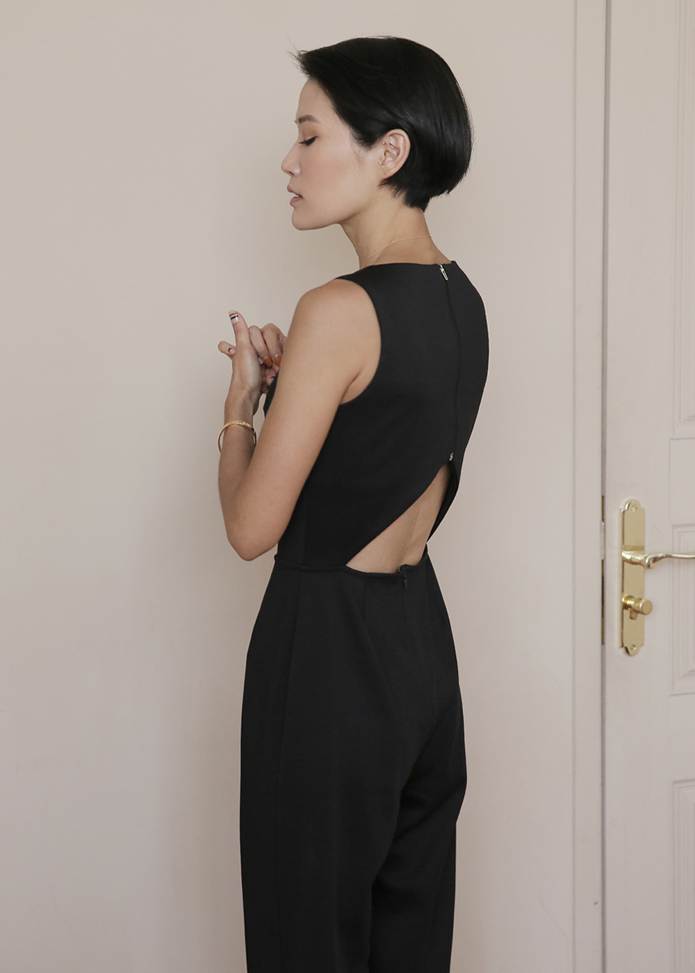 Back Cutout Black Jumpsuit
