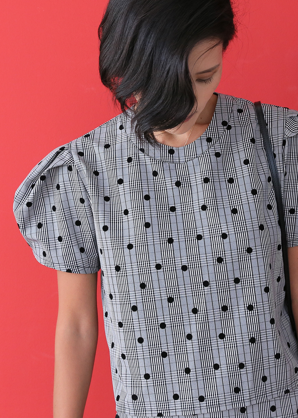 Velvet Dots in Check Set_Puff Top